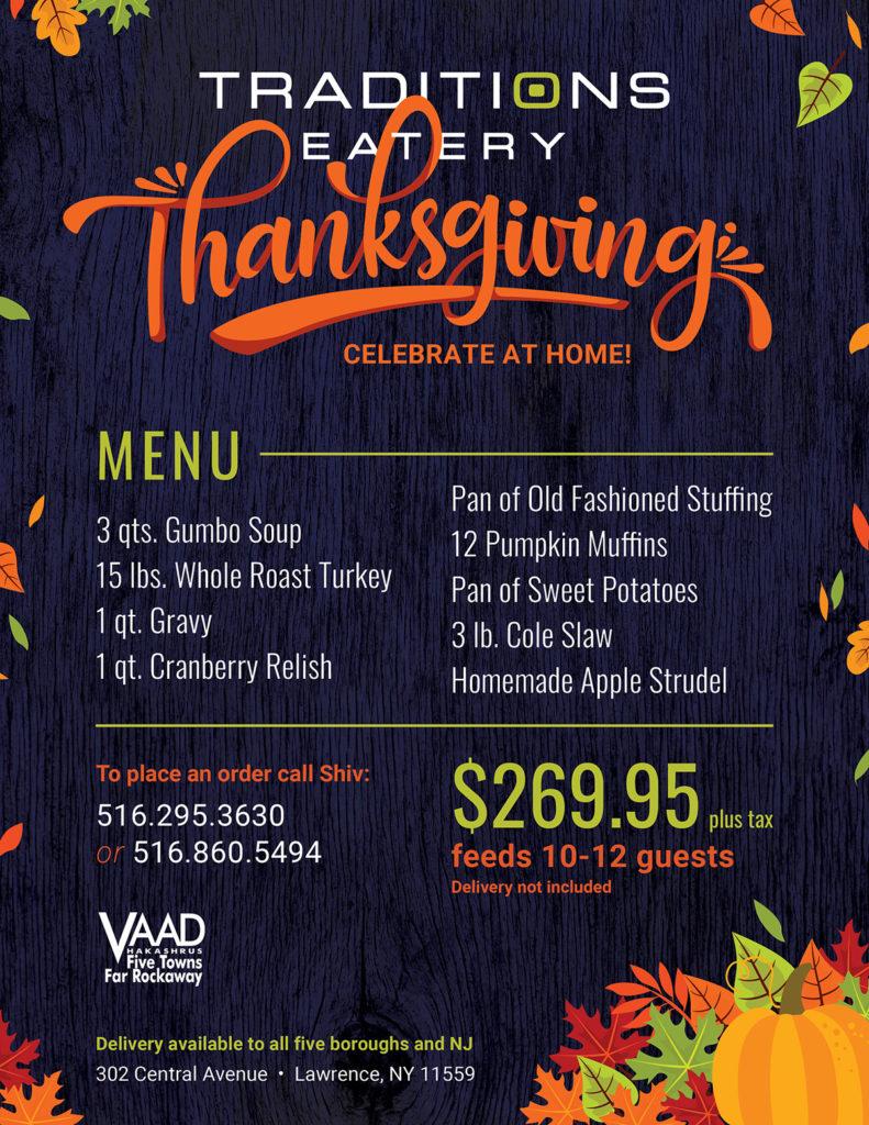 Traditions Thanksgiving Menu